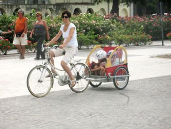 Portare i bambini in bicicletta con il carrellino - Carrello per bici porta cani ...