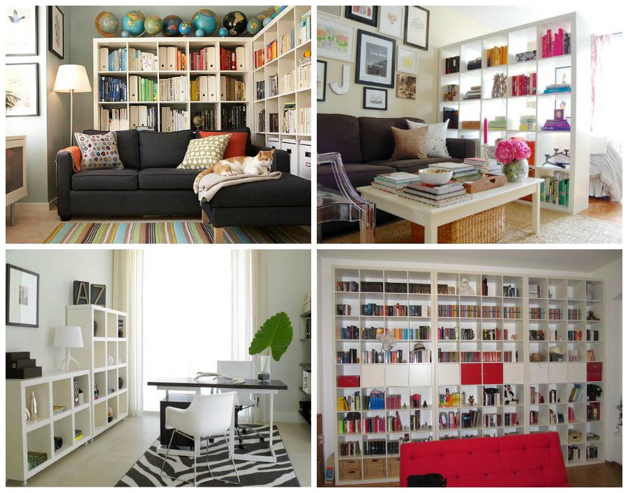 La famosa libreria Expedit può risolvere diverse esigenze. Da sinistra in alto Decorpad. Apartement Lifestyle. Causa Design Group. Ikea Hackers.