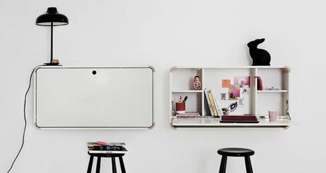 Ogni cosa a suo posto e quando serve spazio si chiude. Scrivania richiudibile, Design By Junior Living http://www.juniorliving.dk/index.php/en/firstcollection-table