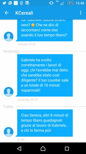 SMS spediti da Kinder Ferrero al io numero di telefono ogni volta che premiamo il pulsante conta tempo.