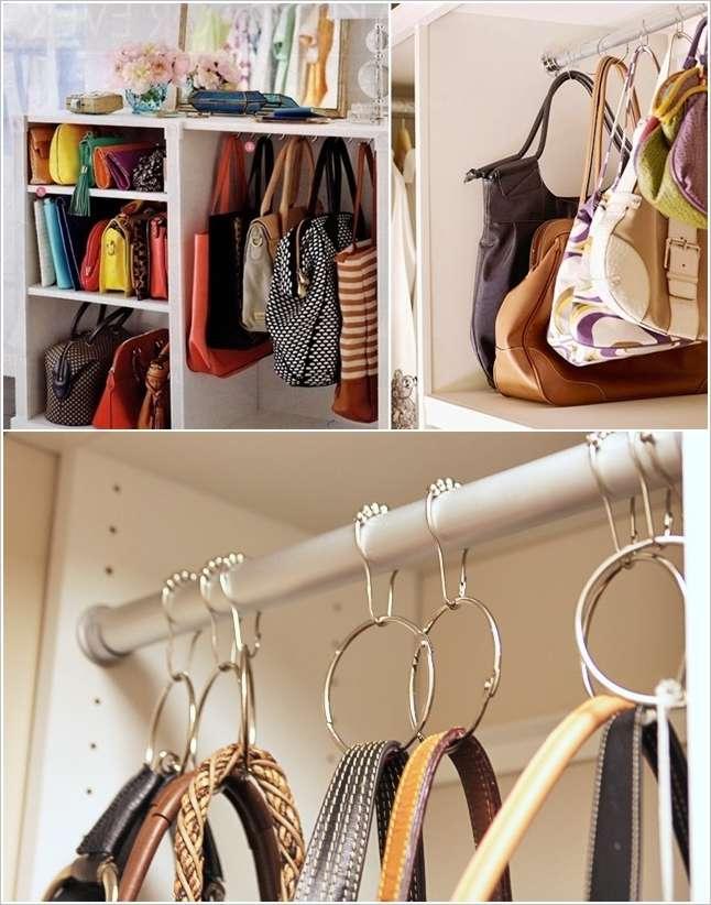 Anche le borse hanno bisogno di spazio. Ganci e anelli aiutano a tenerle in ordine e bella vista