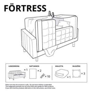 istruzioni per costruire un fortino utilizzando mobili Ikea